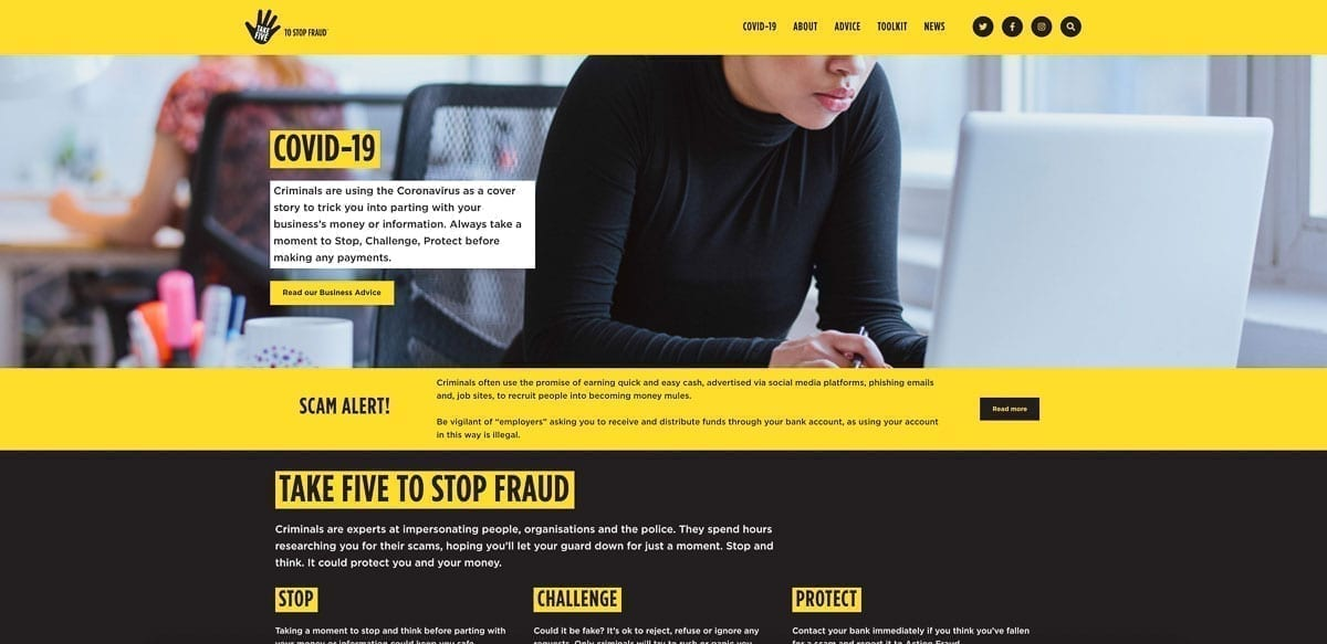 """""""Take Five to Stop Fraud"""" Website"""